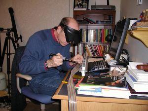 sauddering at desk